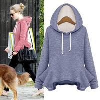 850 # Hitz big swing coat flounced long-sleeved hooded sweater coat  bottoming
