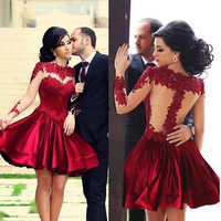 Sexy Women Ladies Backless Lace Stiching Cross Collar Dress Pleated hot dark red short dresses Beauty