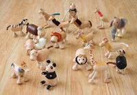 Child Wooden Figure Toys, Wooden Anamalz Animal Dolls Puppet Dummy , 5PCS/LOT