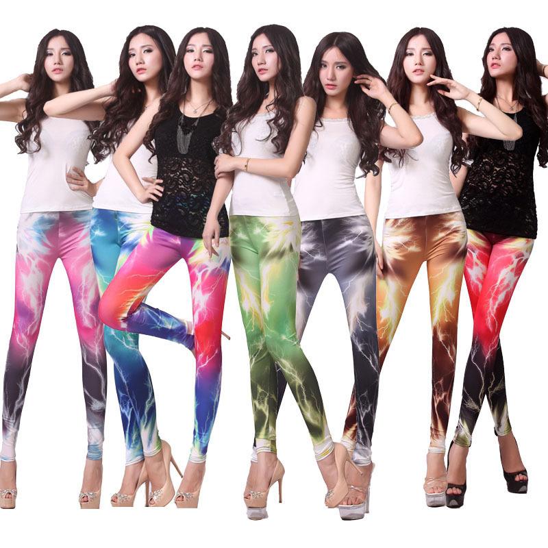 Fashion Shinng Galaxy Leggings Women Magical Cosmic Space Print Ladies' Skinny Pants 13 Styles Fantcy lightening leggings(China (Mainland))