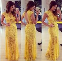 2015 Elegant yellow lace dress Mulheres vestidos de festa vestido longo casual dress  party plus size gown winter dress LD58005