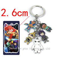 10pc Free Shipping.Big Hero 6 Baymax Metal Keychain Baymax Robot 5 Figure Pendant Key Chain Toy Cartoon Movies Accessories Gift