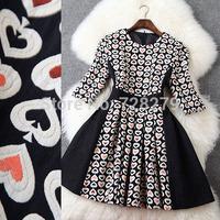 2015 New Fashion Dress  Three-dimensional Jacquard Patchwork slim Fifth sleeve Women's Dresses