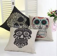 45*45cm Skull Linen Sofa Cushion Cover Home Decorative Skull Chair Car Throw Pillow Case Cover Almofadas decorativas