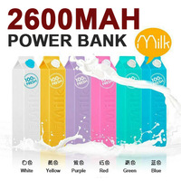 Gift Milk Power Bank 2600mah Mobile Phone battery charger External Backup Power Bank 2600 mah for Apple iPhone Samsung