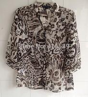 England fashion brand street 100% seda leopard print blouse autumn long sleeve shirt