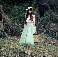 2015 European Fashion Women Length Mesh Chiffon Beach Skirt Lady Sexy High Waist Womens Skirts DQ128