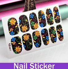 HOT! Fluorescent Beautiful Nail Sticker 3d nail art molds dress Patch Flower