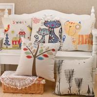 45*45cm Cat/Eiffel Tower/Crown Sofa Decorative Cushion Cover 100% Cotton High Quality Throw Pillow Cover Almofadas decorativas