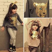 2015New autumn children clothing suits ,girls t shirt + pants clothes sets, girl casual suit, kids fashion wear