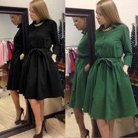 vestidos 2015 winter dress women  trends latest trade long-sleeved A-line dress temperament vestidos casual free shipping