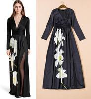High Quality New Arrival 2015 European Style Fashion Women V-Neck Big Floral Print Sexy High Slit Elegant Long Maxi Dress Runway