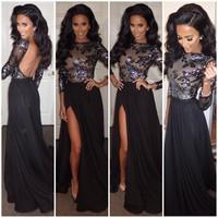 2015 women dress explosion models chest nightclub ladies lace long-sleeved chiffon lace stitching gauze dress vestidos