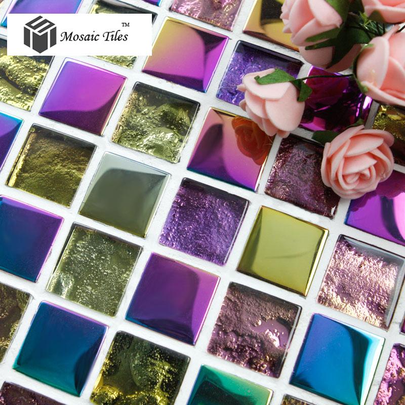TST colorful crystal glass mosaic tiles for backsplash bathroom wall mirror tub wash basin puzzle art waistline border tile(China (Mainland))