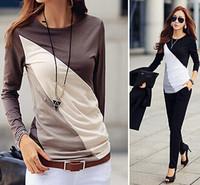 NEW fashion Casual Blouses lady long sleeve Patchwork Tops women T-shirt Clothing slim beautiful blusa femail tops LJ122XGJ