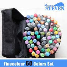 Во-вторых Genaration Finecolour постоянный на спиртовой основе близнец искусство маркеры 60 цветов / комплект с бесплатными мешки