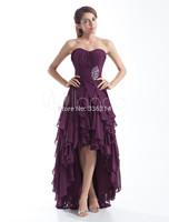 2015 Sexy Grape Sweetheart Prom Dress Plus Size Real Image High Low Chiffon Evening Gown dresses Vestidos De Festas