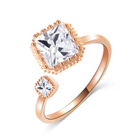 Min. order 9 usd (can mix) Engagement Rings 18K Gold Plated Two Square Czech Crystals Rings for Woman Fashion jewelry
