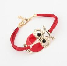 Enamel vintage jewelry candy leather owl bracelet wholesale/kpop pulseras cuero/pulseiras couro femininas/gift/buho/hibou/coruja