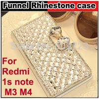 Luxury Diamond Rhinestone leather case cover For Xiaomi M3 3 M4 4 Hongmi red rice Redmi 1s note+Free HD Screen Protector