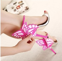 dream sophia webster lady  high heels 11.5 CM PU Leather Colorful butterfly wing pumps  wedding party sandal  dress shoe summer