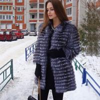 Natural Fur Coat Best Selling Women Genuine Silver Fox Fur Outwear Overcoat Customizable Long Design Stripes Fox Fur Coat