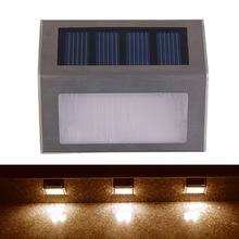 Solar Power 2 LEDs Outdoor IP44 Garden Pathway Stairs Lamp Light Energy Saving Solar Lamp Warm White New FE#8(China (Mainland))