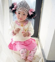 New 2015 Spring/Autumn Girl Clothing Sets Baby Girls Toddler Top & Butterfly culottes 2 piece Outfits Suit Kids Clotning