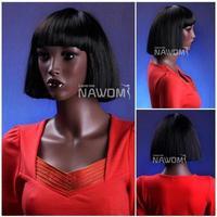 free shipping,Black woman girl short straight wigs, BOBO head fleeciness  fashion models neat bang hair