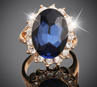 Big promotions anel de ouro 18k Gold Rings gold filled Big Luxury gilded crystal blue gem ring big banquet vintage jewelry