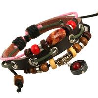 Adjustable Unisex Leather Bracelet small wholesale jewelry outlet jewelry dermal Beaded Bracelet