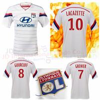 2015 Lyon jersey home white France Olympique Lyonnais shirt camisa 14 15 Lacazette Gourcuff Briand Gomis Grenier Soccer jerseys