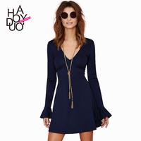 2015 spring/summer around blue v-neck sexy female backing Slim speaker sleeve dress
