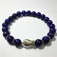 2015 New Fashion Charm Bracelets Handmade Lapis Lazuli Beads Round Beads Bracelet Elegant Stone Beads Bracelets Bangles