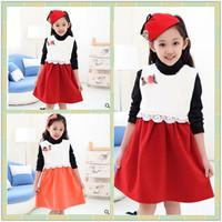 4pcs/lot New Fashion Winter Red and White Girls Dresses White Collar Teenage Dresses 120-150cm Kids Vestidos Free Shipping DA592