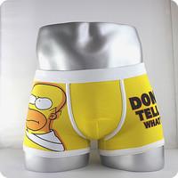 2014 High quality 100% Free shipping cotton cartoon men's Boxer  underwear men underwear Simpson
