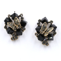 Good quality 2015 New statement fashion crystal beads butterfly earrings crystal stud Earrings