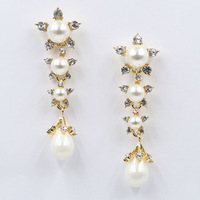 Top quality 2014 New statement fashion crystal pearl earrings stud Earrings for party wedding earring women