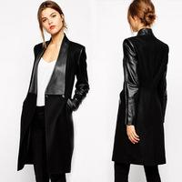 Big lapel Woman fashion Long Blazer Jacket Pu leather woolen blends patchwork coat femininas jaqueta couro