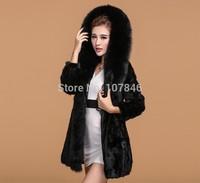 Luxury 2015 Genuine Natural Sliced Mink Fur Coat Jacket Fox Fur Hoodi Winter Coats Women Fur Outerwear Plus Size VK2002