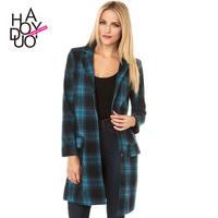 2015 British Blue Plaid collar A long section  wool coat