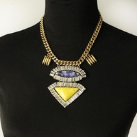 Wholesale Jewelry Glam Crystal Glass Statement Necklace Designer Brand Women Costume Halsketting Spikes primera calidad 3734