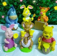 Anmie Winnie Pink Pig Tigger Donkey Cartoon 6 pcs/set  PVC Action Figure Children Toy Christmas Gift