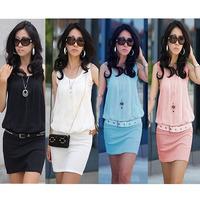 New !! 2014 Summer Women Mini Dress Crew Neck Chiffon Sleeveless Causal Tunic Sundress Sizes S M L XL Free Shipping