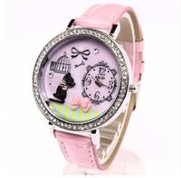 Fashion Rhinestone watch creative DIY ladies student watch cartoon cute premium brand female women wristwatch