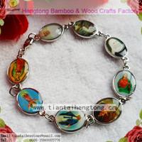 6pcs/pack metal oval alloy bead saint bracelet, religious bracelet double side saint sticker with epoxy free shipping