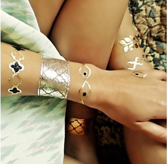 1Pcs Gold Glitter Tattoo Stickers Jewelry Diamond Pattern Temporary Tattoos 2014 fashion factory wholesale(China (Mainland))