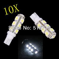 Free shipping wholesale 10x T10 13 SMD 5050 indicator Light Auto car led bulb LED Signal Lights white super bright