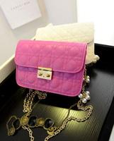 Free shipping fashion plaid women's handbag chain messenger bag small all-match plaid chains pack