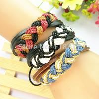 Wholesale Multi-layer leather bracelet,fashion multi-colors FREE SHIPPING